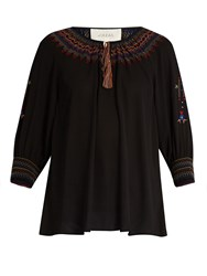 The Great Promenade Embroidered Crepe Top Black Multi