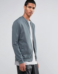 Asos Jersey Bomber Jacket In Washed Blue Murky