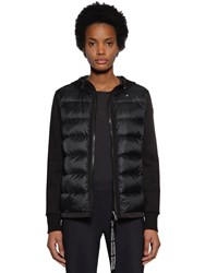 Moncler Wool Knit Cardigan And Nylon Down Jacket Black