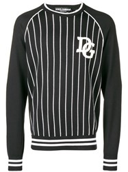 Dolce And Gabbana Striped Logo Patch Sweater Black