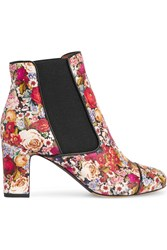 Tabitha Simmons Micki Floral Print Nubuck Ankle Boots Red