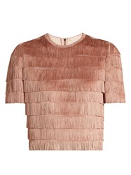 Raey Short Sleeved Fringed Top Nude