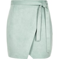 River Island Womens Mint Green Faux Suede Wrap Mini Skirt