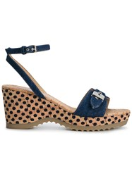 Stella Mccartney 'Linda' Wedge Sandals Blue