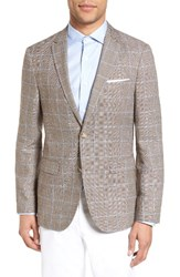 Sand Men's Trim Fit Windowpane Wool And Linen Sport Coat Light Brown