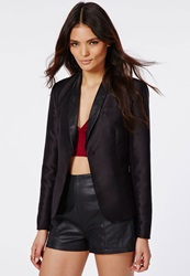 Missguided Tabither Faux Leather Lapel Tuxedo Blazer Black Black