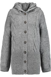 Vivienne Westwood Anglomania Mud Hooded Cable Knit Cardigan Gray