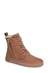 Blackstone Ql64 High Top Sneaker With Genuine Shearling Lining Cafe Au Lait Leather