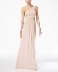 Adrianna Papell Embellished Lace One Shoulder Gown Blush