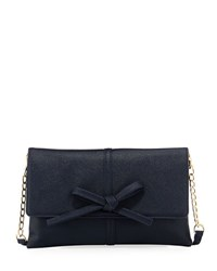 Neiman Marcus Bow Flap Over Clutch Bag Navy