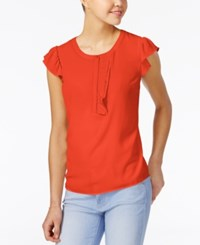 Maison Jules Crew Neck Ruffle Detail Top Only At Macy's Top Tomato