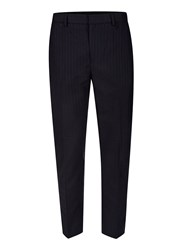 Topman Blue Navy Stripe Woven Relaxed Fit Cropped Dress Pants