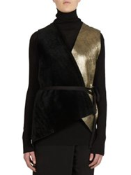 Ann Demeulemeester Leather Open Front Vest Black Gold