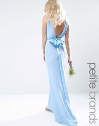Tfnc Petite Wedding Sateen Bow Back Maxi Dress Blue