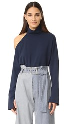 Tibi Asymmetrical Cutout Shoulder Top Midnight Navy
