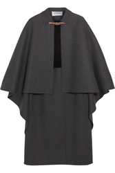 Valentino Suede Paneled Wool Blend Cape