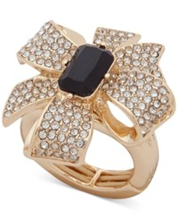 Anne Klein Gold Tone Pave And Stone Bow Stretch Ring