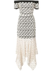 Nicole Miller Lace Layered Strapless Dress White