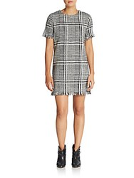 Rd Style Plaid Fringed Shift Dress Black White
