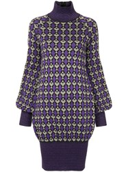 Chanel Vintage Geometric Pattern Knitted Dress Pink And Purple