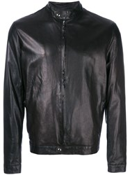 Salvatore Santoro Fitted Leather Jacket Black