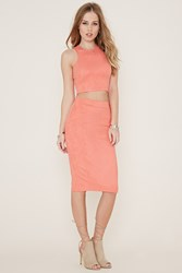 Forever 21 Faux Suede Pencil Skirt Coral