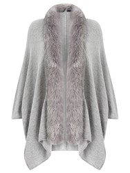 Jacques Vert Faux Fur Trim Cardigan Mid Grey