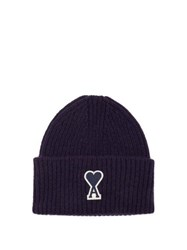 Ami Alexandre Mattiussi Logo Patch Ribbed Wool Beanie Hat Navy