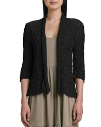 Joan Vass Cropped Tape Yarn Cardigan Black