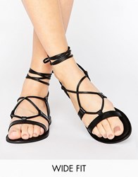 Asos Foundation Wide Fit Leather Lace Up Sandals Black