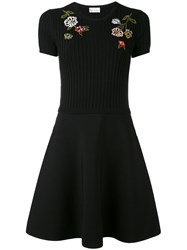 Red Valentino Floral Embroidery Flared Dress Women Polyamide Viscose M Black