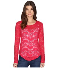 Rock And Roll Cowgirl Long Sleeve Tee 48T9197 Hot Pink Women's T Shirt