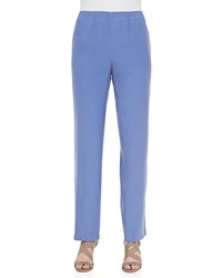 Go Silk Solid Pull On Pants Petite Blue