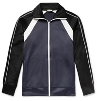 You As Colour Block Tencel And Cotton Blend Jersey Track Jacket Navy