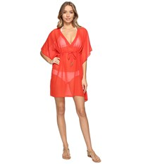 Echo Solid Silky Butterfly Cover Up Rouge Women's Swimwear Red
