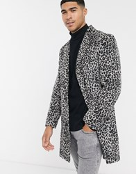 Another Influence Overcoat In Animal Print Grey