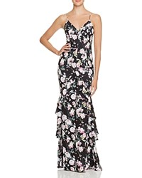 Jarlo Ruffle Trim Gown Black Pink