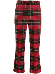Twin Set Cropped Tartan Trousers Red