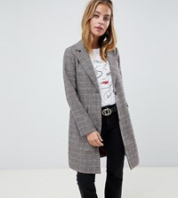 New Look Petite Tailored Coat In Check Brown Pattern
