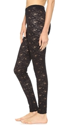 Falke Floral Lace Leggings Black