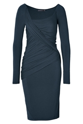 Donna Karan Long Sleeve Draped Dress In Slated Blue