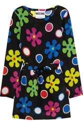 Moschino Floral Print Silk Mini Dress Black