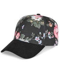 Collection Xiix Floral And Faux Suede Baseball Cap Black