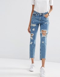 Asos Original Mom Jeans In Jana Mid Stonewash With Busts And Stepped Hem Blue