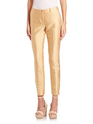 Michael Kors Silk And Wool Shantung Skinny Pants Straw