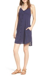 Mimi Chica Button Front Dress Navy Polka Dot