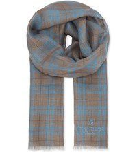 Corneliani Checked Linen Scarf Brown Aqua