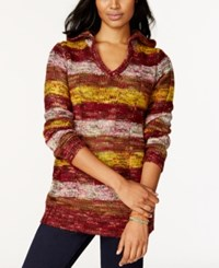 Ultra Flirt Juniors' Hooded Striped Pullover Tunic Sweater Red Gld St