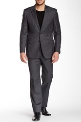 English Laundry Grey Pinstripe Two Button Peak Lapel Wool Suit Gray