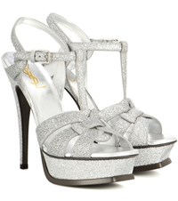 Saint Laurent Tribute 105 Glitter Platform Sandals Silver